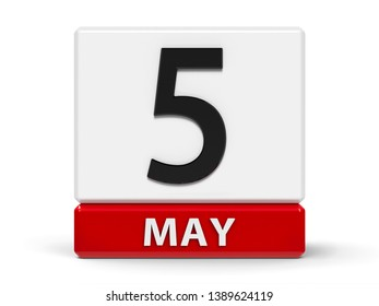 Red and white calendar icon from cubes - The Fifth of May - on a white table - International Day for the rights of the disabled, Midwives' Day, three-dimensional rendering, 3D illustration