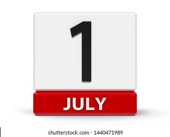 Red and white calendar icon from cubes - The First of July - on a white table - Canada Day, three-dimensional rendering, 3D illustration