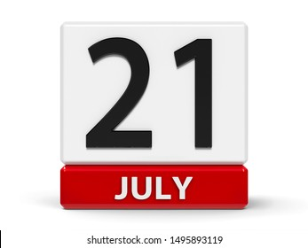 Red and white calendar icon from cubes - The Twenty First of July - on a white table - Belgian National Day, three-dimensional rendering, 3D illustration