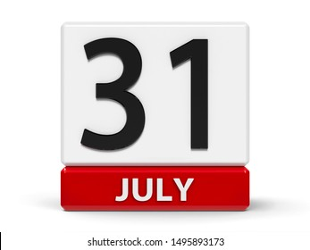 Red and white calendar icon from cubes - The Thirty First of July - on a white table - World Ranger Day, three-dimensional rendering, 3D illustration