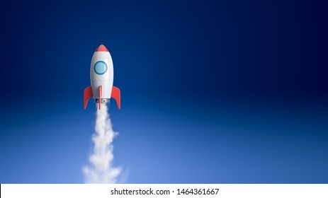 Red and White Cartoon Spaceship Flying on Blue Background with Copy Space 3D Illustration