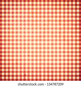 red and white checked grunge vintage background with seamless pattern