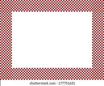 Red and White Checkered Frame Background with center isolated for copy-space