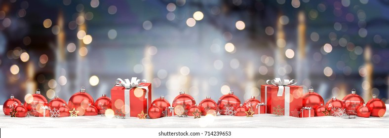 Red and white christmas baubles lined up on candel snowy background 3D rendering