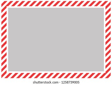 Red and white diagonal bands along the perimeter of the sheet with gray background . Empty form for message, envelope or banner.