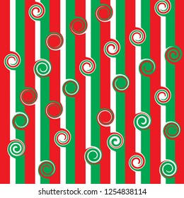 Red, White, and Green striped christmas wrapping paper background with curly spirals.