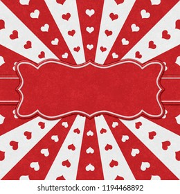 Red and white hearts and burst lines heart background with texture and a ribbon for your message 3D Illustration