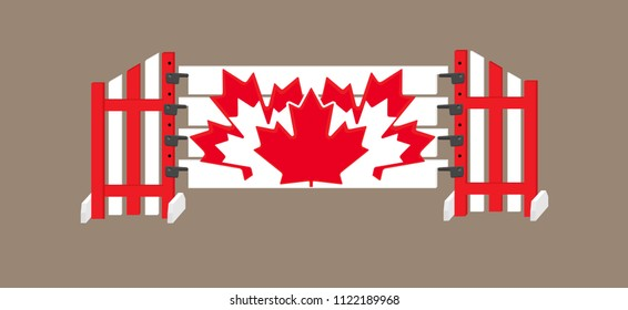 Red and white horse show jump with canadian maple leaves on the planks and striped standards.