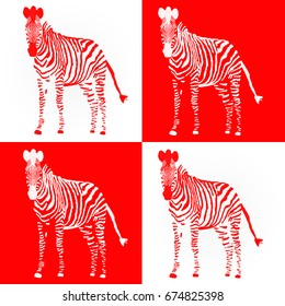 Red and white illustrated Zebra collage.