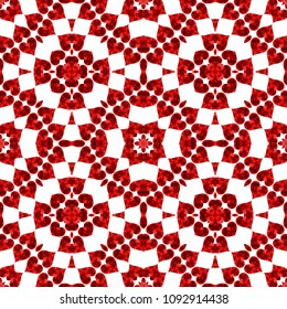 Red and white kaleidoscopic seamless symmetric pattern design
