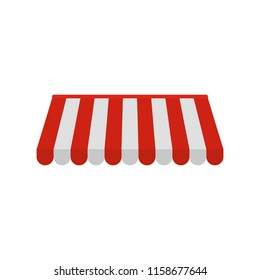 Red white outdoor street tent icon. Flat illustration of red white outdoor street tent icon for web isolated on white