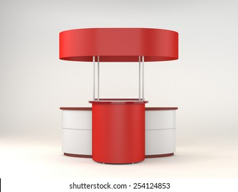 red and white portable booth or kiosk from front view