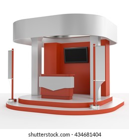 red and white round booth with flags. 3D rendering