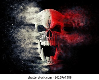 Red and white screaming demon skull disintegrating into dust - 3D Illustration