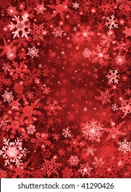 Red and white snowflakes on a dark paper background.