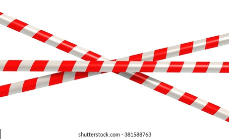 red white striped caution tape - isolated