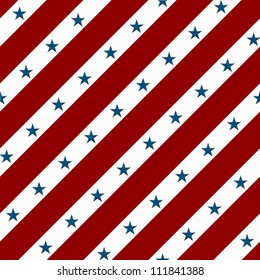 Red and White Striped Fabric Background with Stars that is seamless and repeats