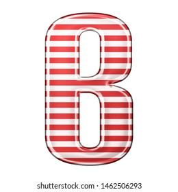 Red & white striped letter B in a 3D illustration with classic red stripes and a shiny metallic finish in a rounded bold font isolated on a white background