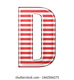 Red & white striped letter D in a 3D illustration with classic red stripes and a shiny metallic finish in a rounded bold font isolated on a white background