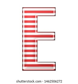 Red & white striped letter E in a 3D illustration with classic red stripes and a shiny metallic finish in a rounded bold font isolated on a white background
