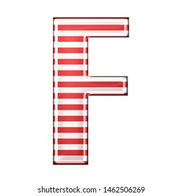 Red & white striped letter F in a 3D illustration with classic red stripes and a shiny metallic finish in a rounded bold font isolated on a white background