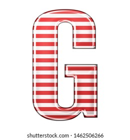 Red & white striped letter G in a 3D illustration with classic red stripes and a shiny metallic finish in a rounded bold font isolated on a white background
