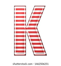 Red & white striped letter K in a 3D illustration with classic red stripes and a shiny metallic finish in a rounded bold font isolated on a white background