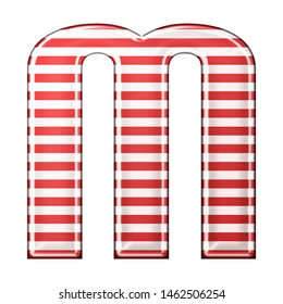 Red & white striped letter M in a 3D illustration with classic red stripes and a shiny metallic finish in a rounded bold font isolated on a white background