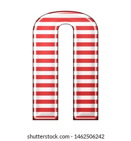 Red & white striped letter N in a 3D illustration with classic red stripes and a shiny metallic finish in a rounded bold font isolated on a white background