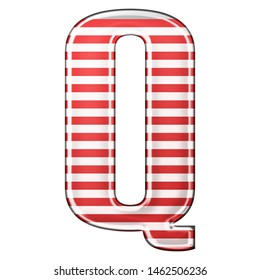 Red & white striped letter Q in a 3D illustration with classic red stripes and a shiny metallic finish in a rounded bold font isolated on a white background