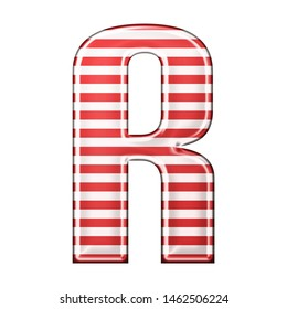 Red & white striped letter R in a 3D illustration with classic red stripes and a shiny metallic finish in a rounded bold font isolated on a white background