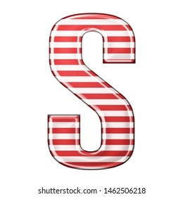 Red & white striped letter S in a 3D illustration with classic red stripes and a shiny metallic finish in a rounded bold font isolated on a white background