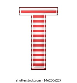 Red & white striped letter T in a 3D illustration with classic red stripes and a shiny metallic finish in a rounded bold font isolated on a white background