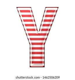 Red & white striped letter Y in a 3D illustration with classic red stripes and a shiny metallic finish in a rounded bold font isolated on a white background