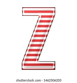 Red & white striped letter Z in a 3D illustration with classic red stripes and a shiny metallic finish in a rounded bold font isolated on a white background