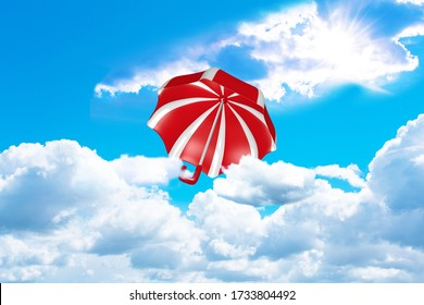 red and white striped umbrella flies out of the clouds towards the sun. 3d rendering
