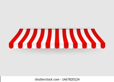Red and white sunshade. Outdoor awnings for cafe and shop window isolated set. Tent sunshade for market, stripe summer scallop for store illustration