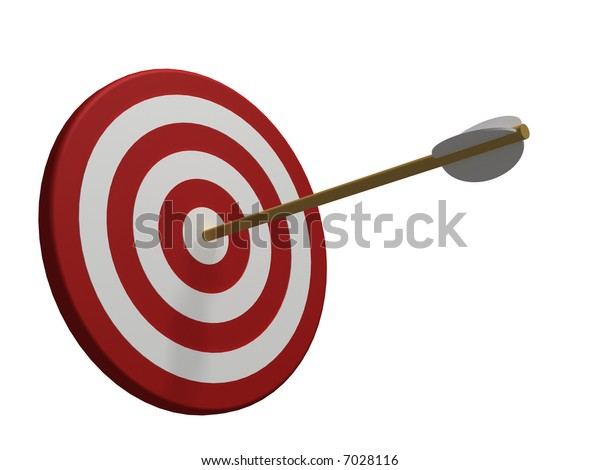 red and white target with arrow isolated on white