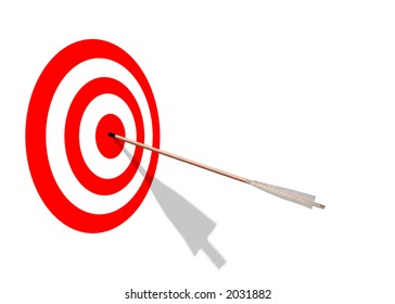 Red and White target with arrow and shadow.