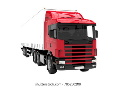 Red and white truck isolated on a white background: 3D illustration