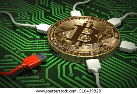 Red White USB Wires Connected Bitcoin Stock Illustration 510439828 ...