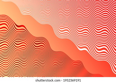 red and white wave patterns gradient overlay coral orange background illustration