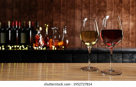Red and white wine in clear glass, many blurred wine , whisky and brandy bottle backgrounds Place on  wooden and mable floor with a wooden board wall. The cellar Tasting production concept.3D Render