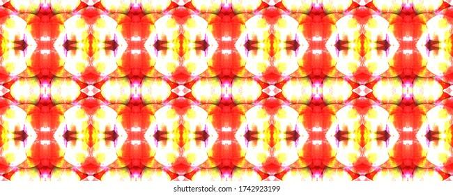 Red, White and Yellow Paintbrush Python Background. Ethnic Seamless Pattern. Fun Rectangle Ikat Rapport.  Chevron Geometric Swimwear Pattern. Snake Skin Random Texture. Watercolor Ethnic Design.
