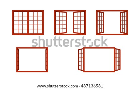 Red Window Frame Isolated On White Stock Illustration 487136581 ...