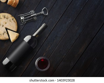 Red Wine bottle with cheese, corkscrew and wineglass on a dark wooden background with copy space. Wine bottle mockup. Top view. 3d illustration.