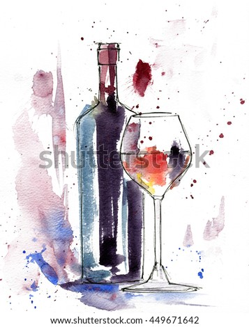 Red Wine Bottle Glass Isolated On Stock Illustration 449671642