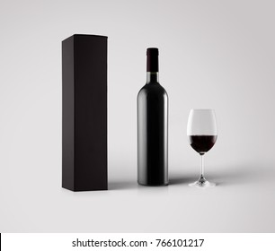 Red wine box and bottle mock up with a glass of wine, 3d illustraton