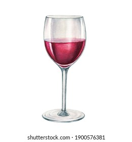 Red wine glass watercolor illustration. Hand drawn realistic fresh alcohol beverage element. Cristal clear glass with cabernet, merlot, chianti wine on white background. Delicious alcohol grape drink.