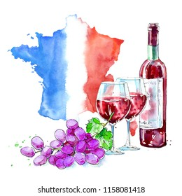 Red wine, glasses, grapes and map of France.Picture of a alcoholic drink.Beverage.Watercolor hand drawn illustration. White background.